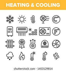 Heating And Cooling System Vector Linear Icons Set. Heating And Cooling Air Conditioning Outline Symbols Pack. Temperature Control Equipment. Radiator, Fan, Thermometer Isolated Contour Illustrations