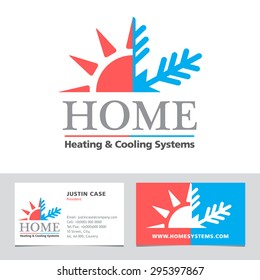 Heating & Cooling systems business icon  & business card vector template. Brand visualization template. Graphic concept for home cooling & heating, climate control system. Sample text. Editable