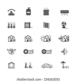 Heating and cooling systems icon set