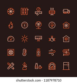 Heating and Cooling Systems Multicolored Line Icon Set
