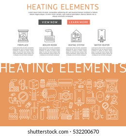 Heating elements outline  vector. Linear heating system template for brochure, poster.