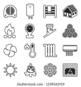 Heating Icons. Line With Fill Design. Vector Illustration.