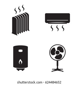 Heating icons set. Black on a white background