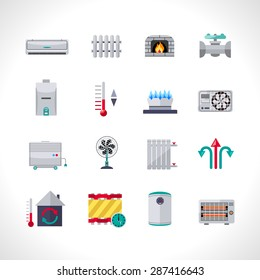 Heating icons set with household electric and air conditioning system symbols isolated vector illustration