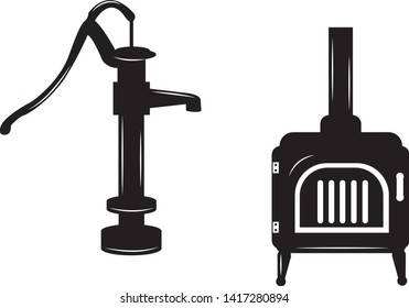 Heating and plumbing icon vectors of an old fashioned water pump (spigot) and a cast iron wood stove