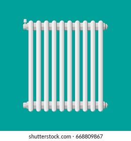 Heating radiator. Retro heating system. Vector illustration in flat style