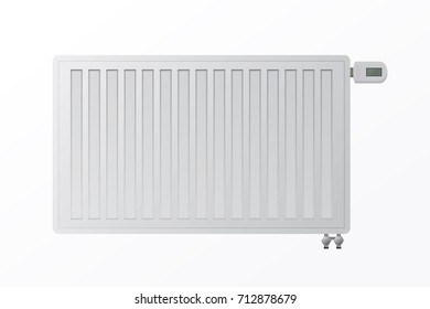 Heating steel panel radiator for HVAC systems on a white background. The bottom connection of the heater. Electronic controller vector illustration. Protection from the cold during the winter.