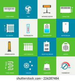Heating, ventilation and conditioning icons set.