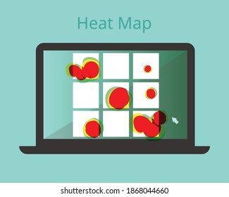 heatmap webpage shows user behavior on each banner vector