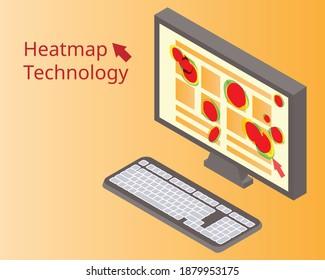 heatmap webpage shows user behavior from laptop to analyze customer behavior vector