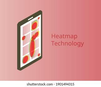 heatmap webpage shows user behavior from smartphone to analyze customer behavior vector