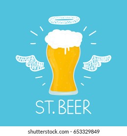 "Heaven beer concept ""St. beer"" with angel halo and wings. Flat and doodle vector isolated illustration. bar, cafe, love craft beer, alcohol concept design. card, poster for bar, pub"