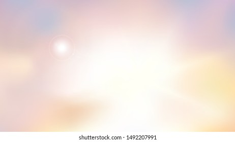 Heaven blur background abstract art. Blurred blue sky backdrop with light bokeh clouds. Vector illustration in colors of dawn. Eps 10.