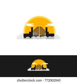Heaven Gate design with sun background.