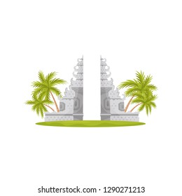 Heaven gates in Lempuyang temple, green palm trees and grass. Travel to Bali. Historical monument. Flat vector design