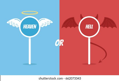 Heaven or hell road sign. Vector flat cartoon illustration