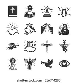 Heaven icons. Included the icons as angle, heaven gate, music, spirit, priest, bible and more.
