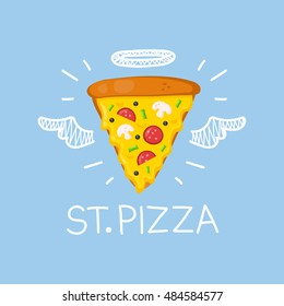 "Heaven pizza concept ""St. Pizza""  with angel halo and wings. Flat and doodle vector isolated pizza, meal, delivery, cafe, fun illustration with olives and  sausage. Love pizza for cafe"