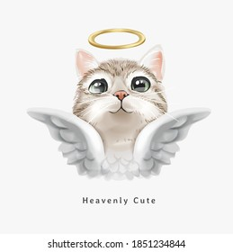 heavenly cute slogan with cute angel cat with gold halo illustration