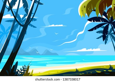 Heavenly place landscape vector illustration. Picturesque view of island with tropical palm trees and sea waves on sunny background flat style design. Paradise beach. Summer vacation concept