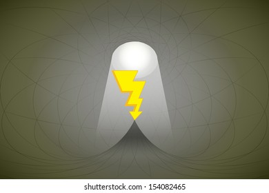 heavenly space with light beam highlights bolt strike vector illustration
