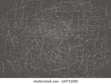 Heavily scratched gray background, vector