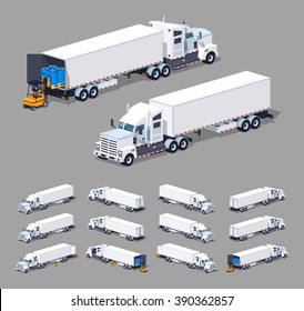 Heavy american white truck with the trailer. 3D lowpoly isometric vector illustration. The set of objects isolated against the grey background and shown from different sides