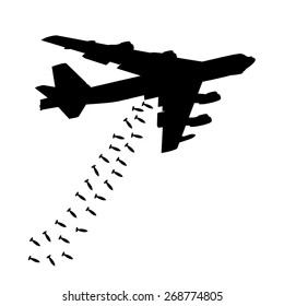 Heavy bomber dropped the bombs. Black silhouette against the white background