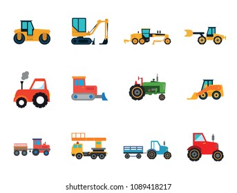 Heavy Cars Icon Set. Tractor With Trailer Truck Red Tractor Bulldozer Blue Tractor And Trailer Skid Loader Green Tractor Loaded Dump Truck Construction Road Grader Road Roller Excavator