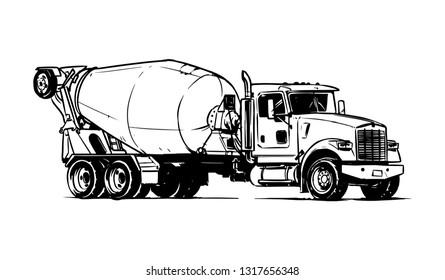 Heavy Concrete Mixer Truck. Vector Illustration