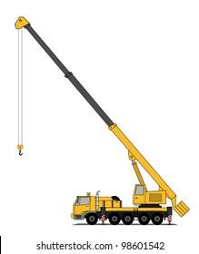 Heavy crane truck vector