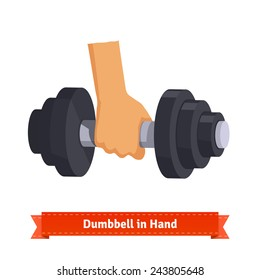 Heavy dumbbell in hand. Flat style illustration.