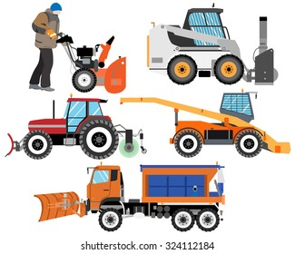 Heavy Equipment for cleaning the roads from snow. Snow plows. Road works. Vector illustration