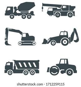 Heavy equipment. Construction machinery vector icons set. Concrete mixer, telescopic crane, excavator, backhoe digger, dump truck and compactor.