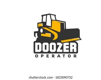 Heavy equipment logo vector for construction company. Dozer logo template vector. Creative bulldozer illustration for logo template.