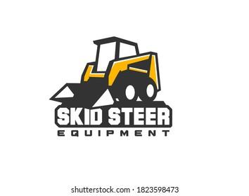 Heavy equipment logo vector for construction company. Skid steer logo template vector. Creative loader illustration for logo template.