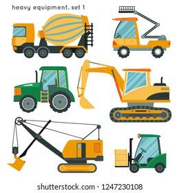 Heavy equipment set1: concrete mixer truck, aerial platform, tractor, excavator, power shovel, forklift. Cartoon construction vehicles  for kids