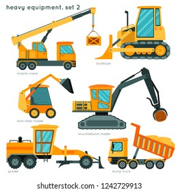Heavy equipment set2: mobile crane, bulldozer, skid-steer loader, knuckleboom loader, grader, dump track. Cartoon construction vehicles for kids