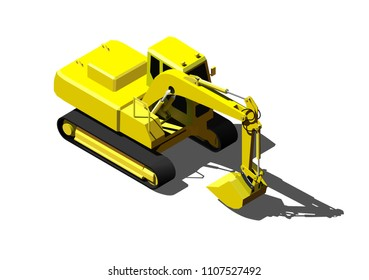 Heavy excavator isolated on white. Modern isometric construction vehicle illustration