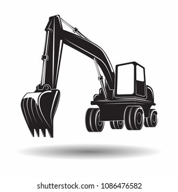 Heavy excavator machine with shovel monochrome icon, on white background, vector