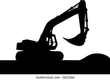 Heavy excavator over orange background