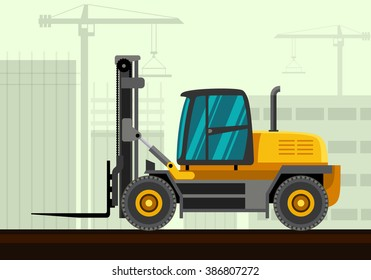 Heavy forklift industrial crane with construction background. Side view crane vector illustration