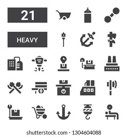 heavy icon set. Collection of 21 filled heavy icons included Weightlifting, Crane, Anchor, Wheelbarrow, Weight, Axe, Factory, Hydraulic breaker, Auger, Dumbbell, Punching bag