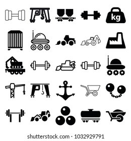 Heavy icons. set of 25 editable filled and outline heavy icons such as excavator, wheelbarrow, tractor, cargo wagon, cargo crane, weight, factory, barbell   isolated, anchor