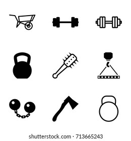 Heavy icons set. set of 9 heavy filled and outline icons such as hook with cargo, axe, ball chain, wheel barrow, mace, kettle, barbell   isolated, barbell