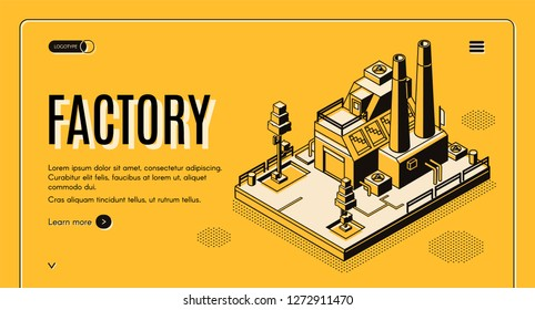 Heavy industry company isometric vector web banner with industrial production factory or energy generation plant building with chimneys line art illustration. Manufacturing enterprise landing page