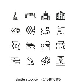 Heavy industry icons. Set of line icons. Atomic power, bricklaying, CHP plant. Industry concept. Vector illustration can be used for topics like business, construction, city planning, machinery