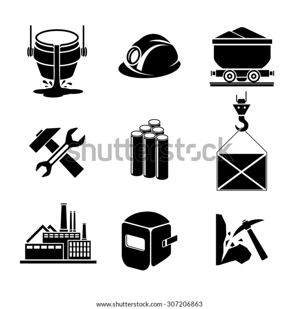 Heavy Industry Metallurgy Icons Set Wrench Stock Vector ...