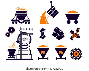 Heavy industry or metallurgy Industrial Vector Isolated Flat Icons Set, vector illustration