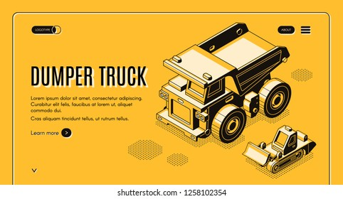 Heavy industry and mining company transport and machinery isometric vector web banner with haul dumper truck and bulldozer line art illustration. Career earthworks equipment landing page template